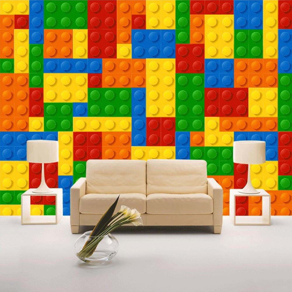 Wallpaper 3D Lego Bricks Kids Room Bedroom Toy Store Background Decoration Baby Room Non woven Wall Mural Wallpaper i