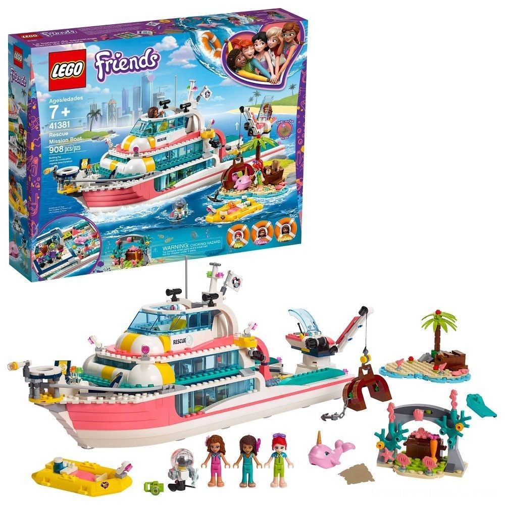 lego friends rescue mission boat building kit sea creatures for creative play 908pc