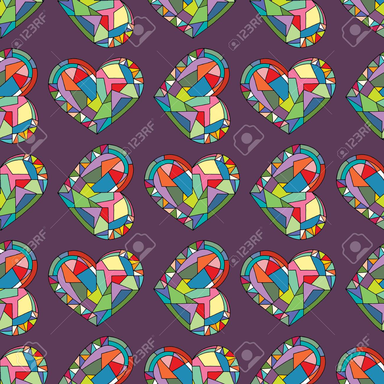 photo stock vector hearts hand drawn vector seamless pattern valentines day holidays background in modern style love ge