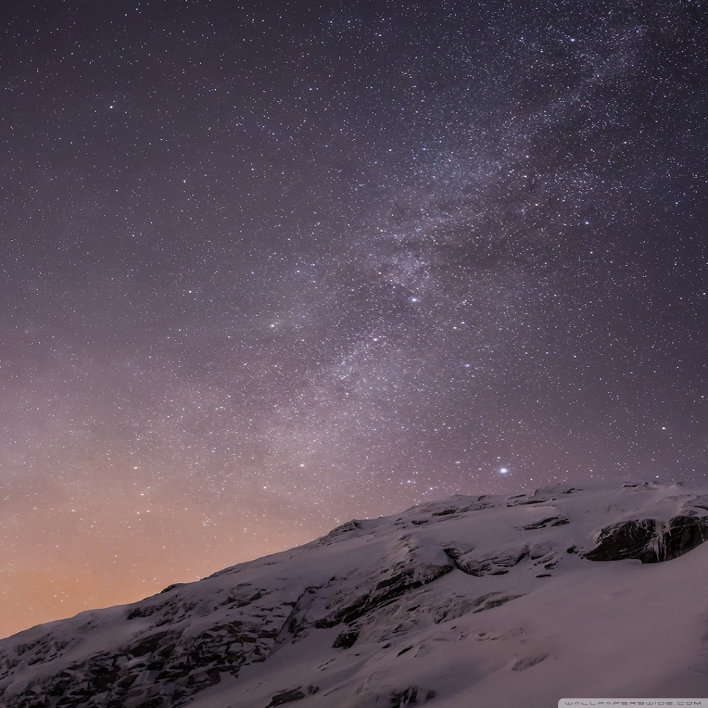 apple ios mountains and galaxy wallpapers