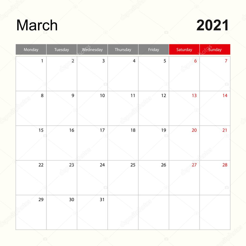 wall calendar template for march 2021 holiday and event planner week starts on monday vector template