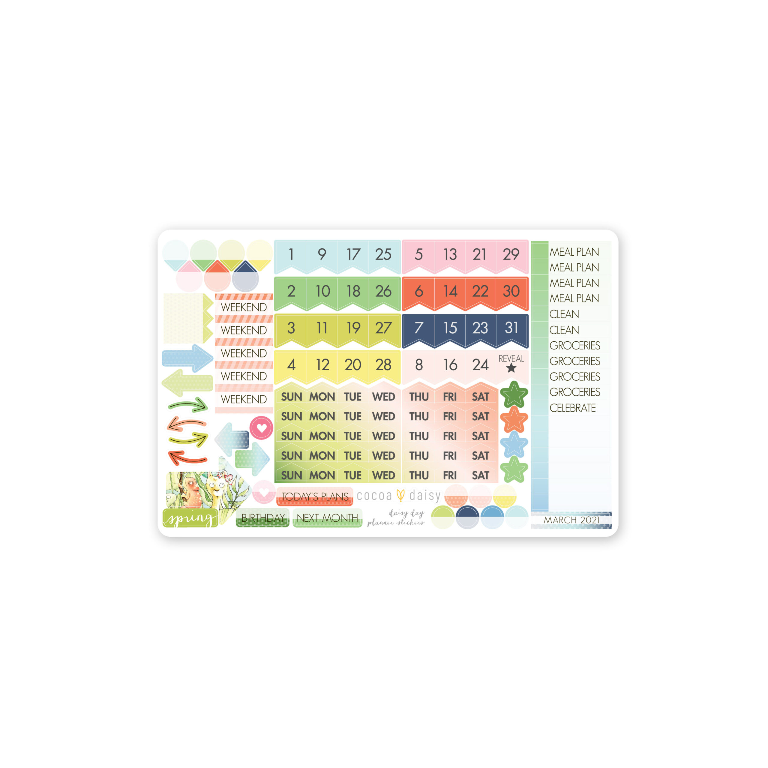 Treetop Main Planner Kit Day Date STICKER Mar 2021 scaled