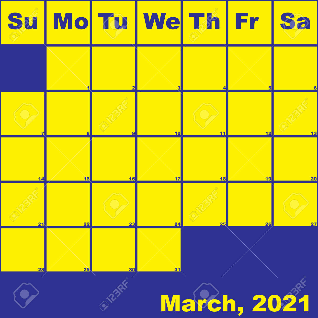 photo stock vector 2021 march yellow on blue planner calendar with huge space for notes
