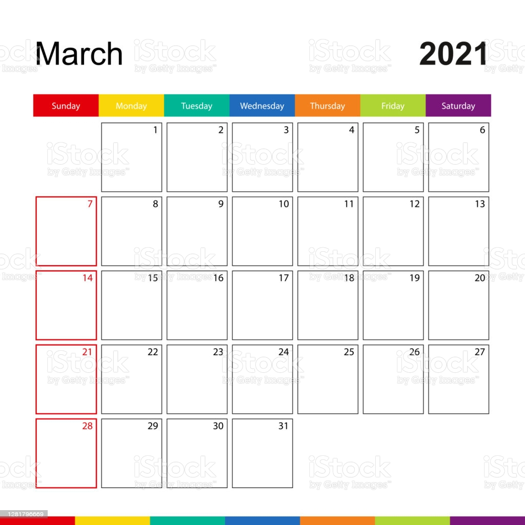 march 2021 colorful wall calendar week starts on sunday gm