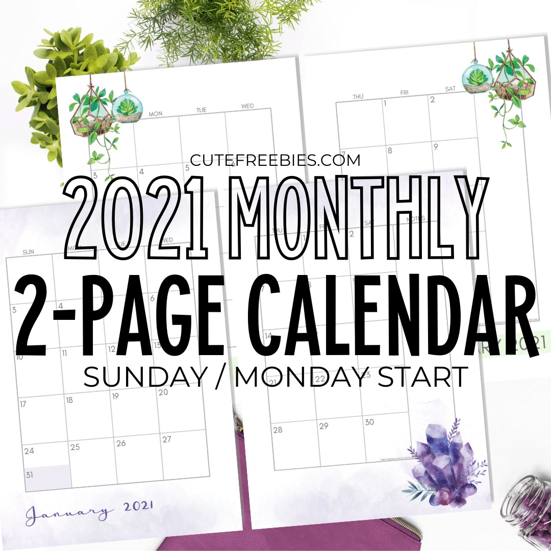 2021 CALENDAR TWO PAGES FREE PRINTABLE 2