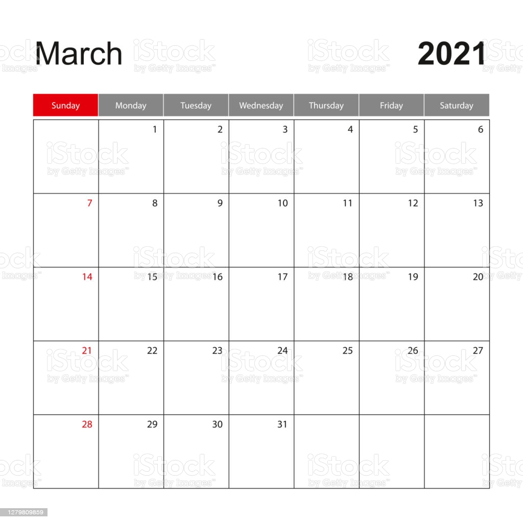 wall calendar template for march 2021 holiday and event planner week starts on gm