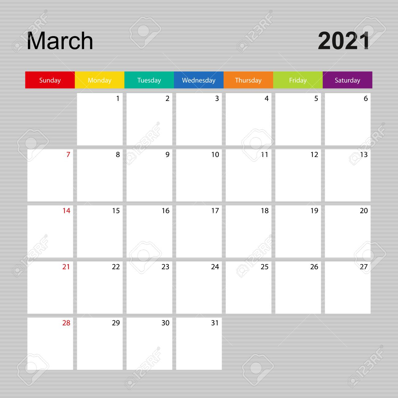 photo Ð¡alendar page for march 2021 wall planner with colorful design week starts on sunday vector calendar