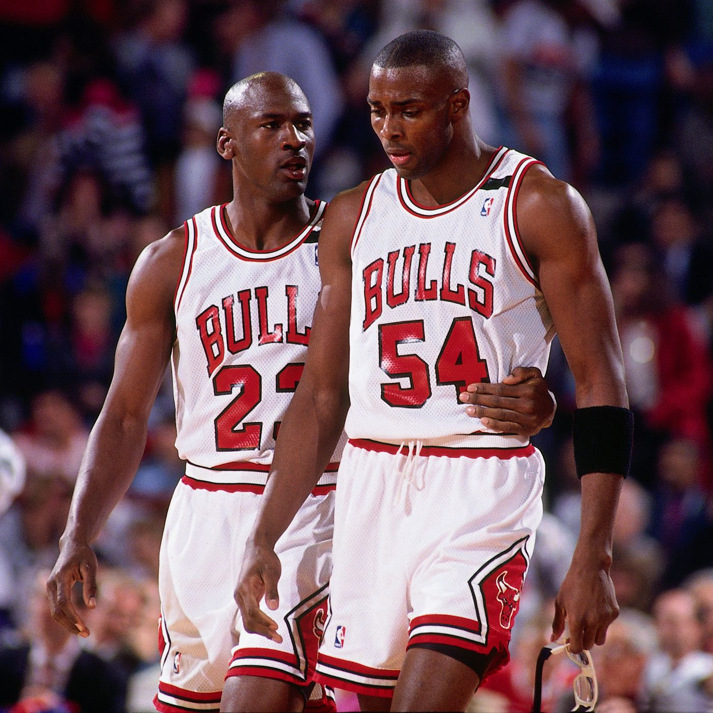 Credit Nathaniel S Butler NBA s Caption CHICAGO MAY 19 Michael Jordan 23 forts teammate Horace Grant 54 of the Chicago Bulls during Game e of the Eastern Conference Finals against the Cleveland Cavaliers played on May 19