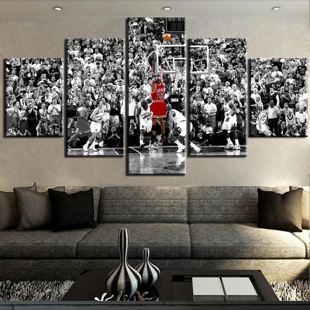 michael jordan professional basketball celebrity athlete framed 5 piece sports canvas wall art painting wallpaper poster picture print photo decor