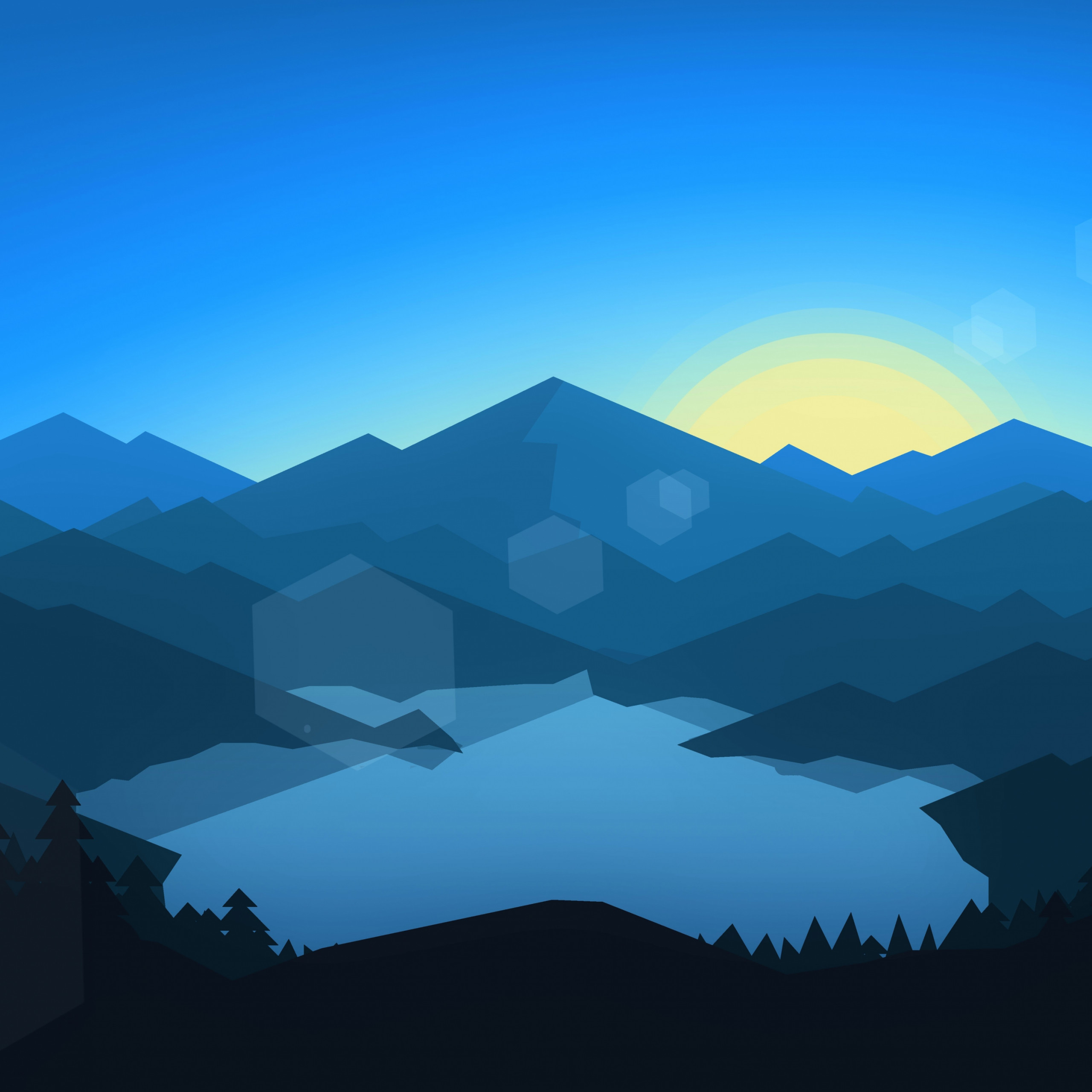 forest mountains sunset cool weather minimalism 7a22c5
