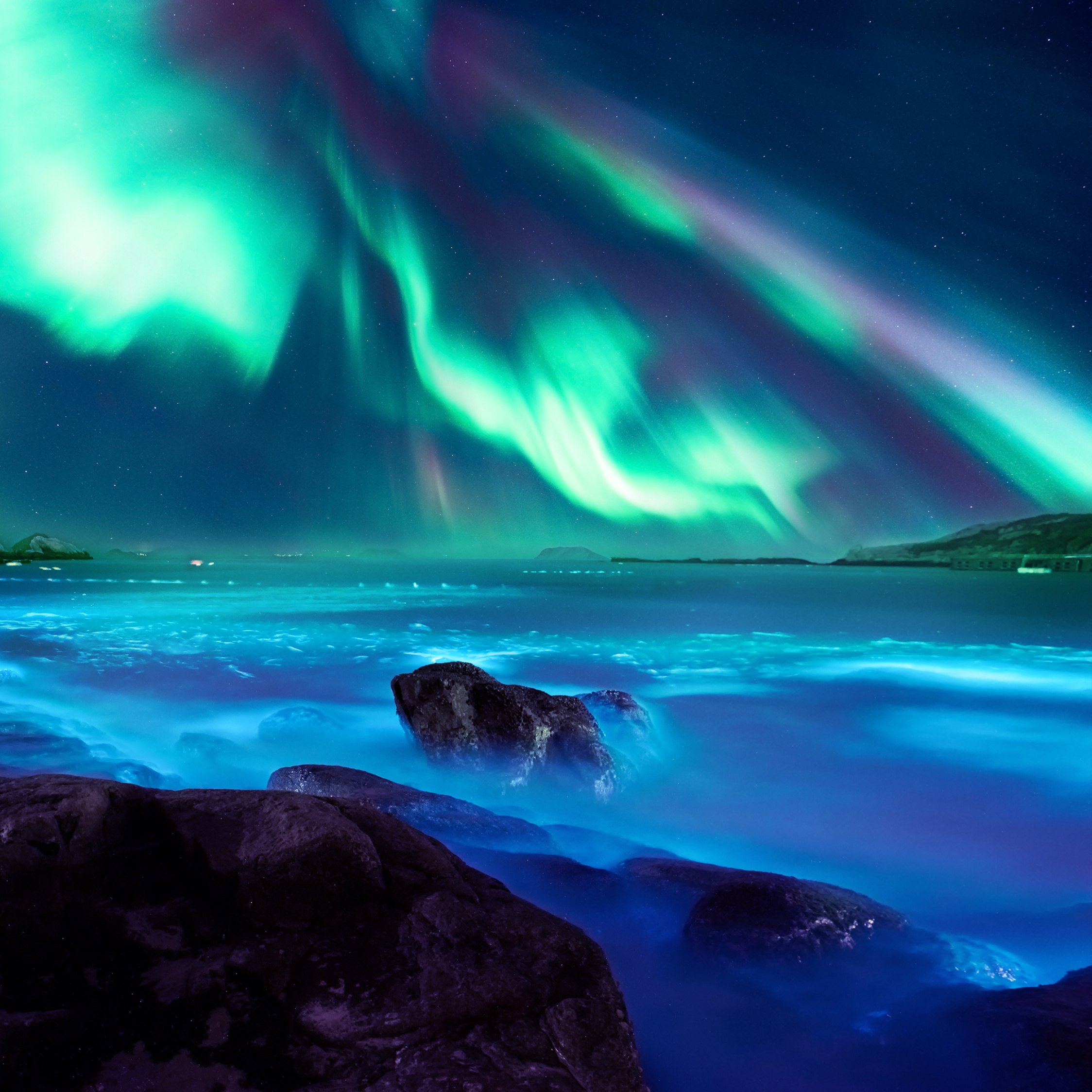 borealis northern lights landscape night honor 20