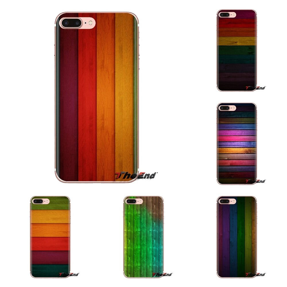 TPU Shell Cases Pastel Rainbow wood Wallpaper For Huawei G7 G8 P7 P8 P9 Lite Honor