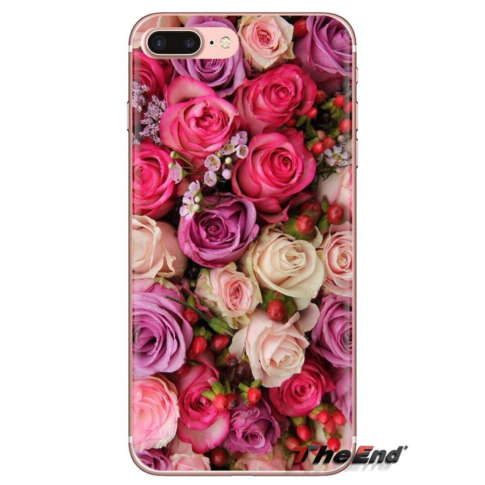 Pink Glitter Roses wallpaper Soft Transparent Shell Covers For iPod Touch Apple iPhone 4 4S 5 960x960