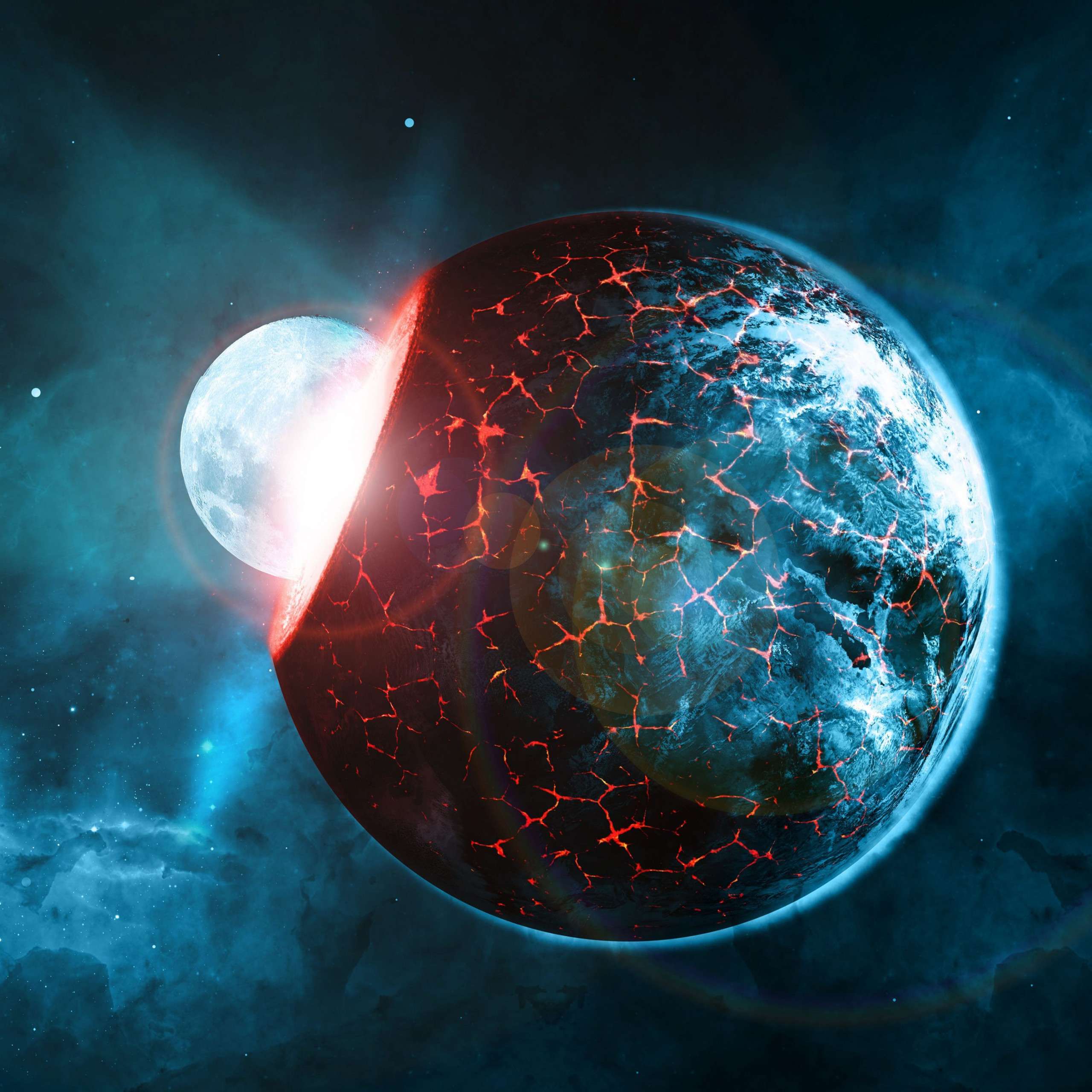 planets space blue red collision stars 4k wallpaper