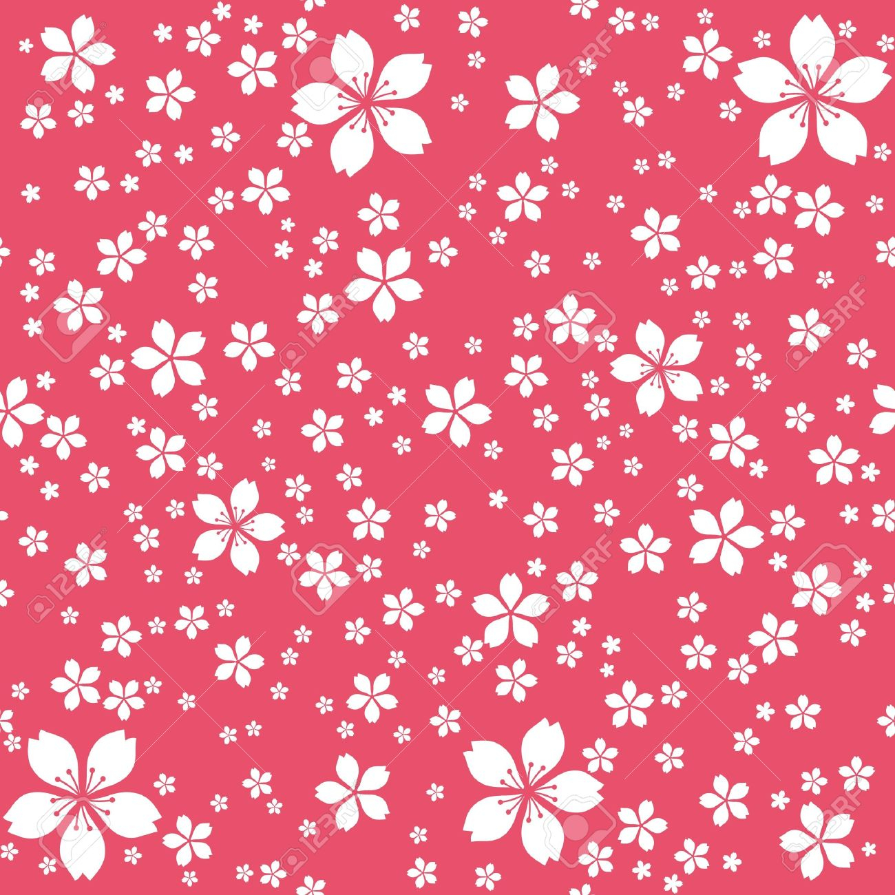 cute floral seamless wallpaper white flowers at red background