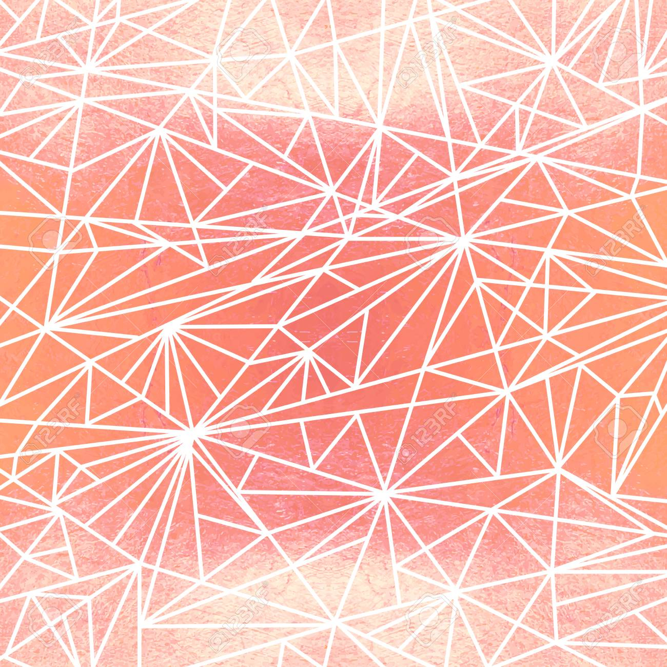 polygon watercolor mosaic on the rose gold background bright summer pattern with watercolor triangle