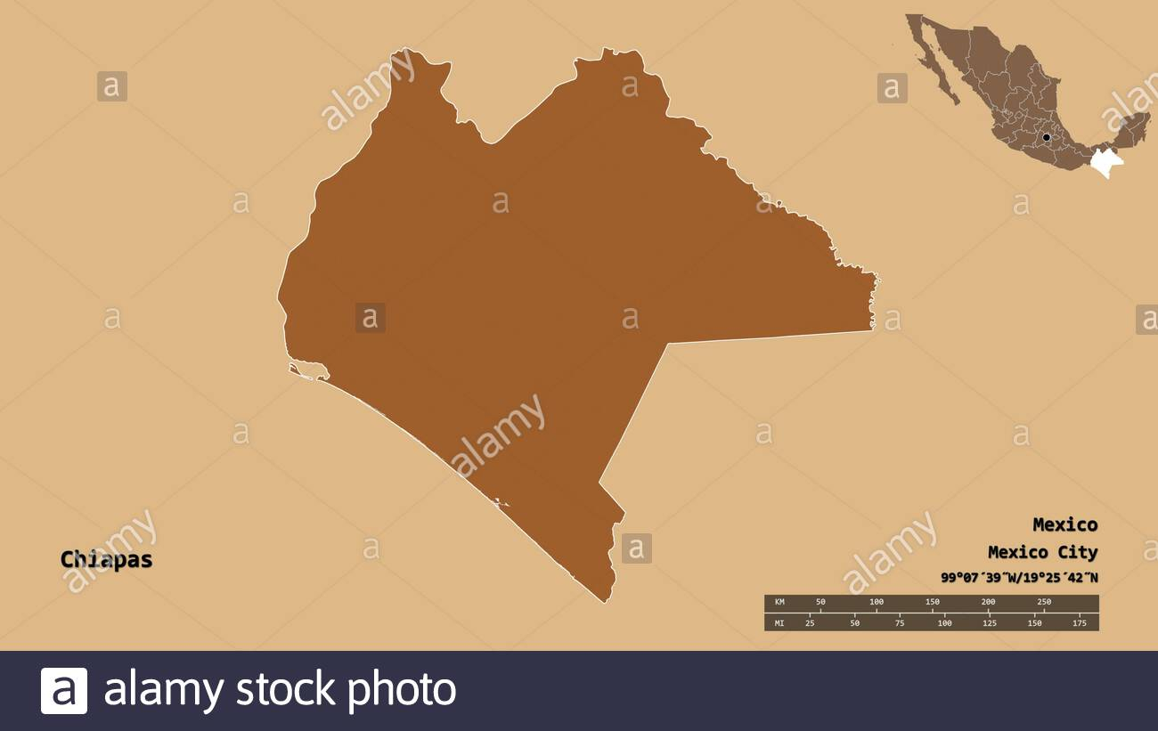 shape of chiapas state of mexico with its capital isolated on solid background distance scale region preview and labels position of regularly 2CBFRB0