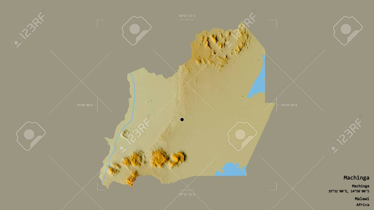 photo area of machinga district of malawi isolated on a solid background in a georeferenced bounding box l