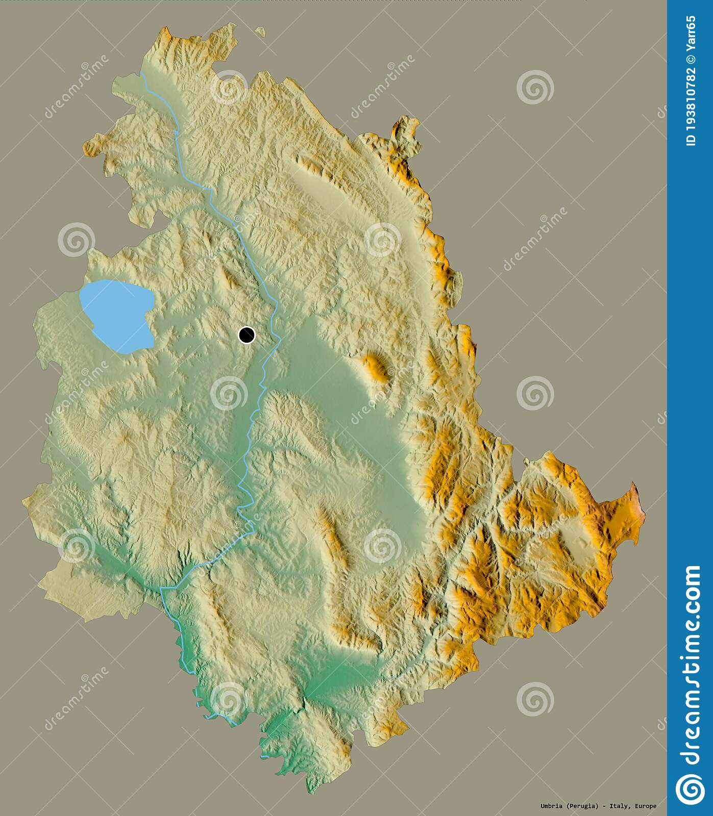 umbria region italy solid relief shape its capital isolated color background topographic map d rendering