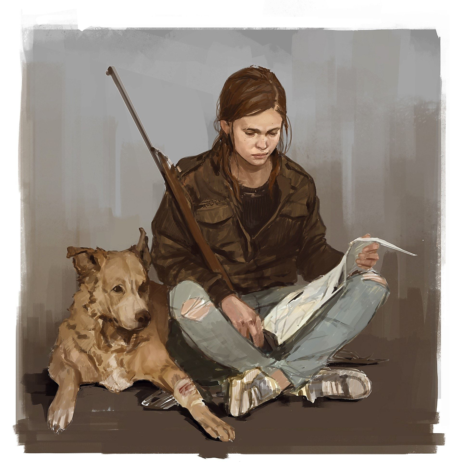 Ellie and Dog The Last of Us 2 Naughty Dog