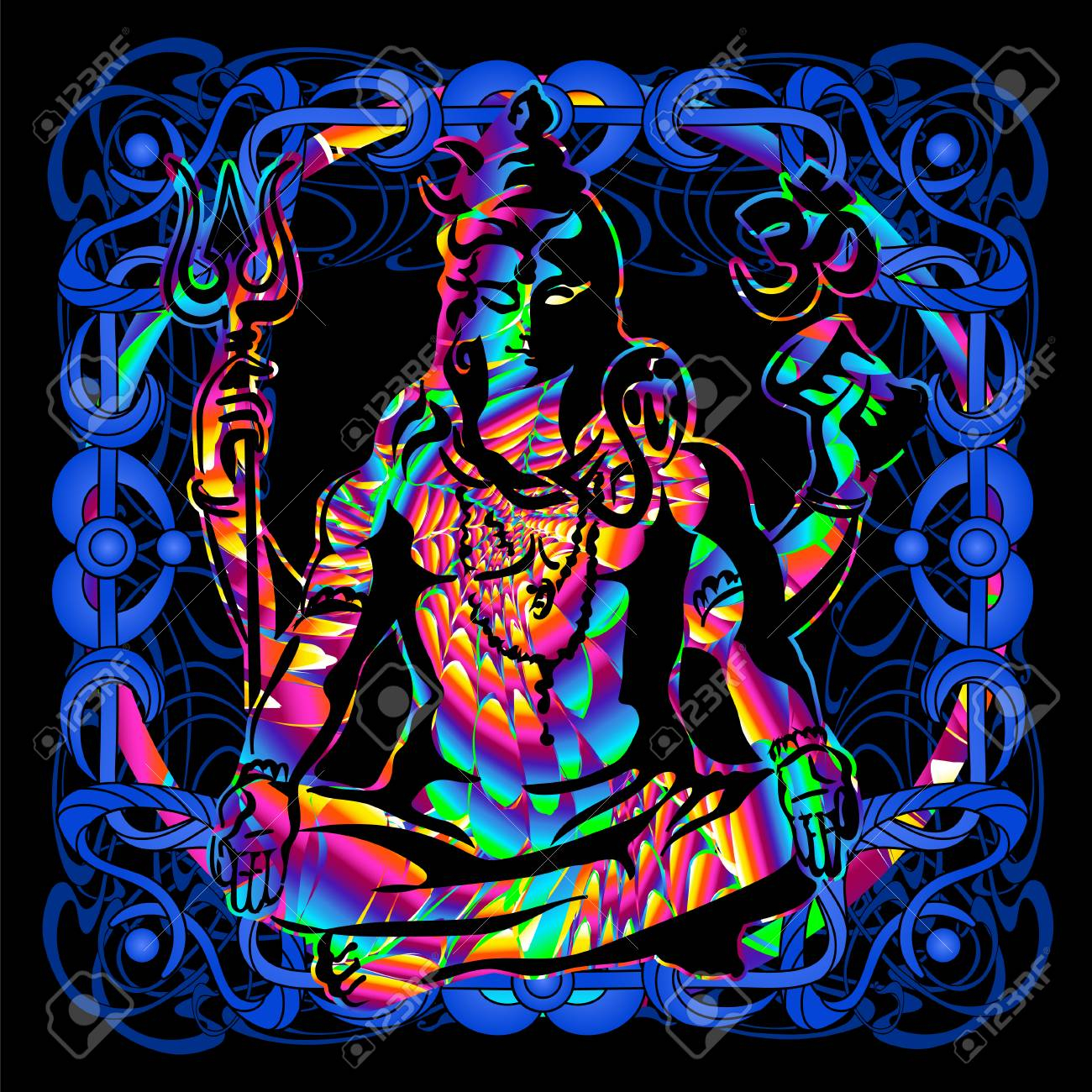 photo stock vector lord shiva is a psychedelic painting