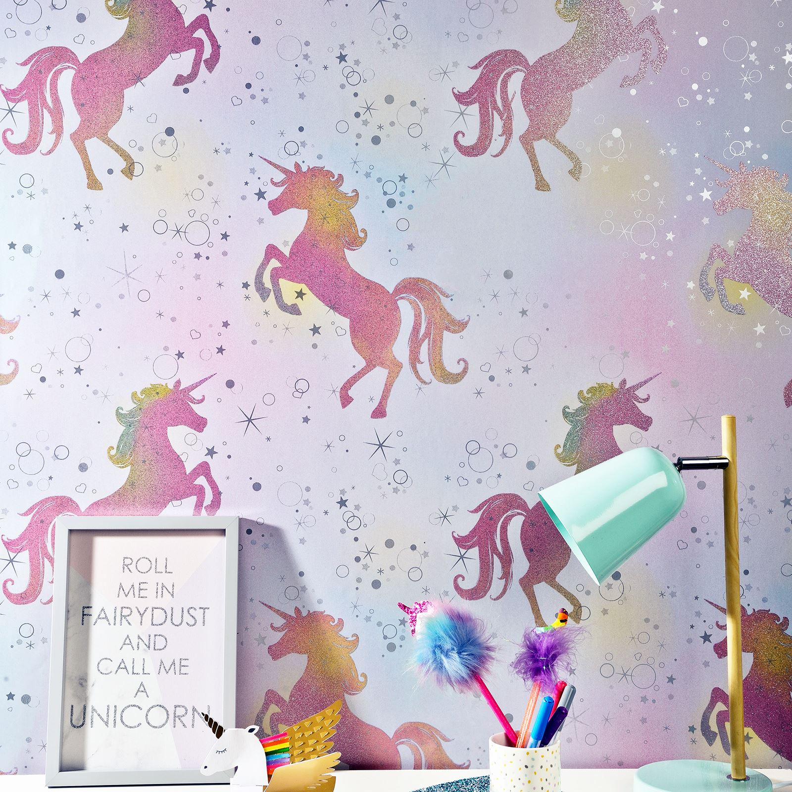 hhRbmR kids girls pink lilac wallpaper dots stars unicorn