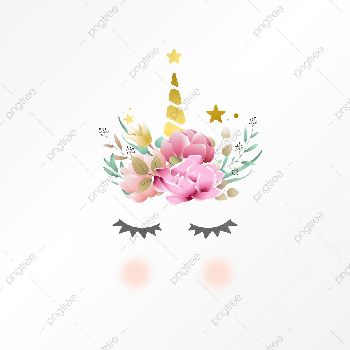 pngtree cute unicorn graphic with flowers wreath png image