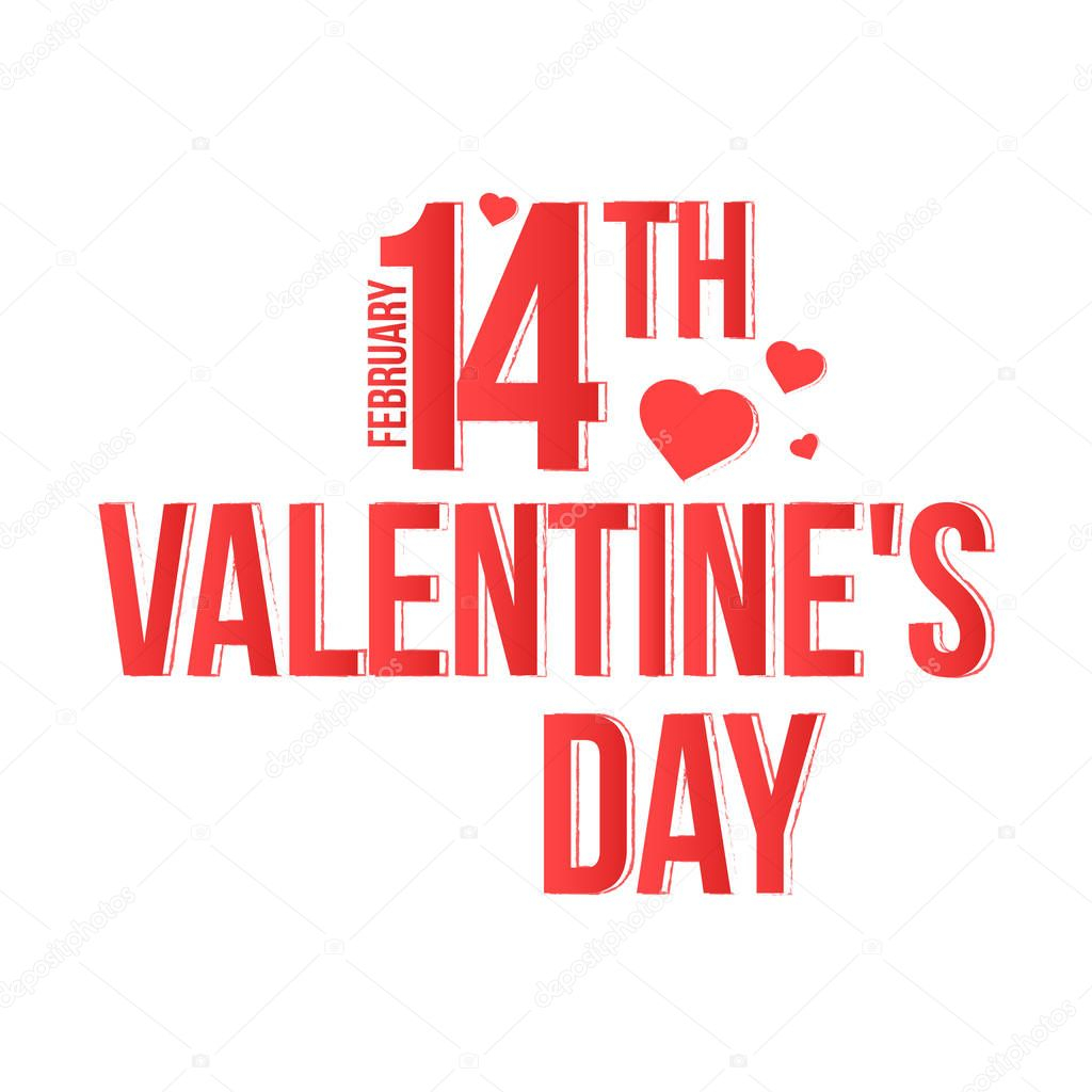 happy valentines day drawn brush lettering isolated on white background vector illustration feb 14th