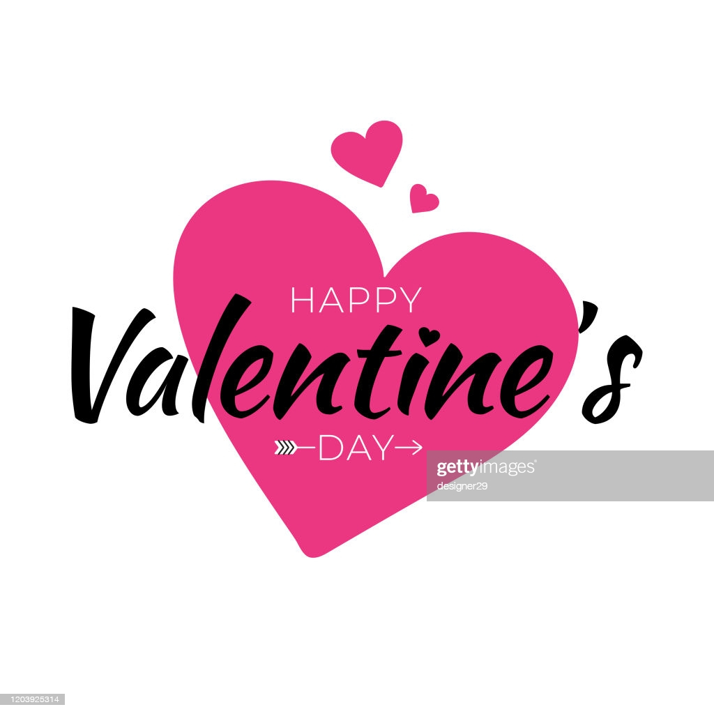 happy valentines day and pink heart vintage lettering background vector id
