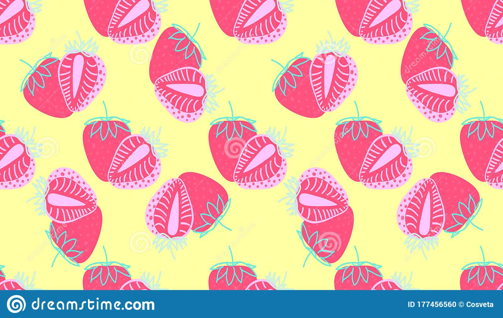 seamless pattern strawberrys virtual background zoom whole sliced pink strawberry berry yellow patterns abstract