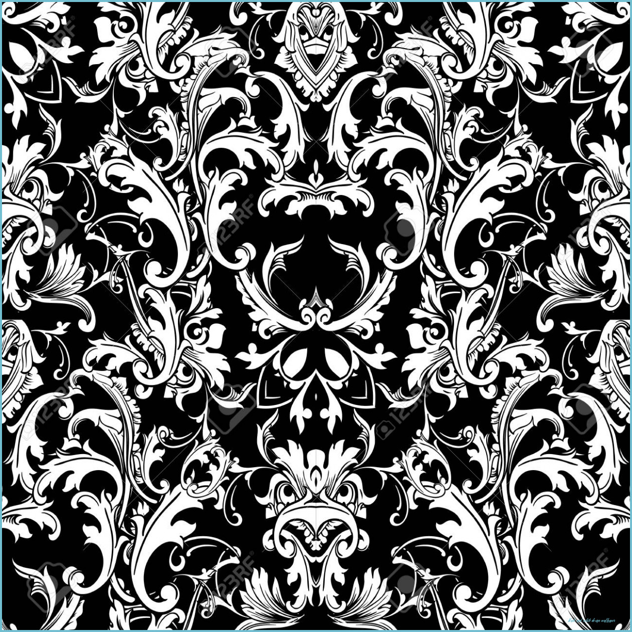 baroque black white seamless pattern luxury floral background black and white design wallpaper