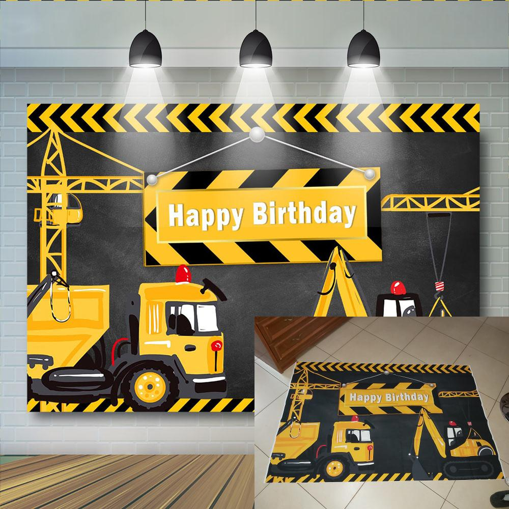 Excavator background for birthday Party Construction photograph Banner Decor Brick Wall Backdrop Dump Truck Boy photo 1 1024x