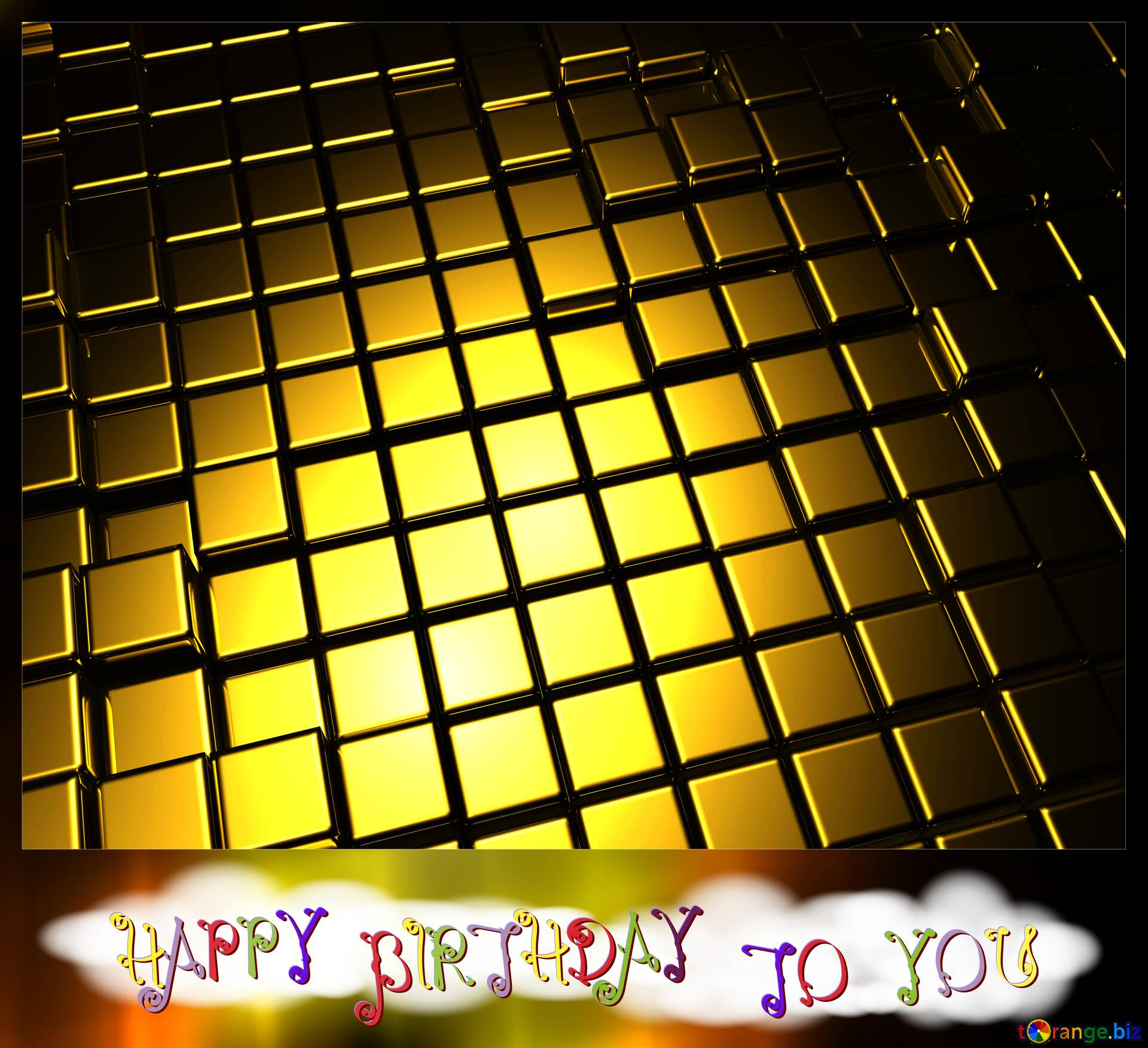 happy birthday blank card background cube abstract gold metal 3d