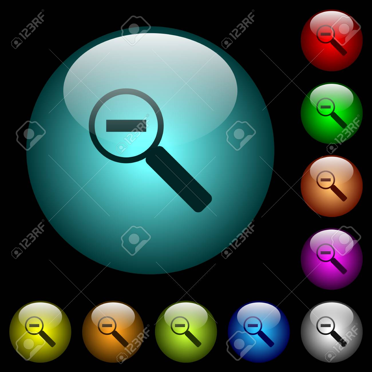photo stock vector zoom out icons in color illuminated spherical glass buttons on black background can be used to black