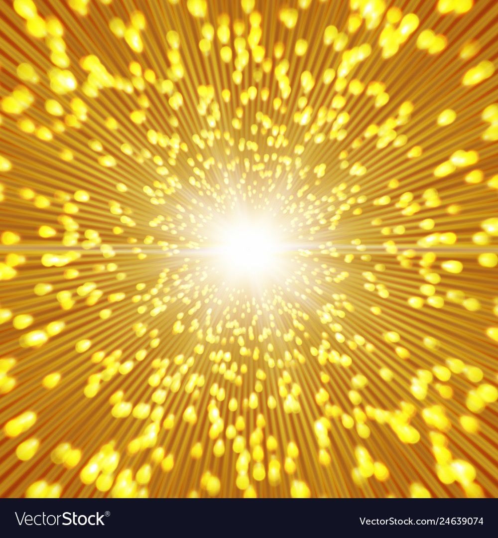 gold sparkle background with zoom affect vector