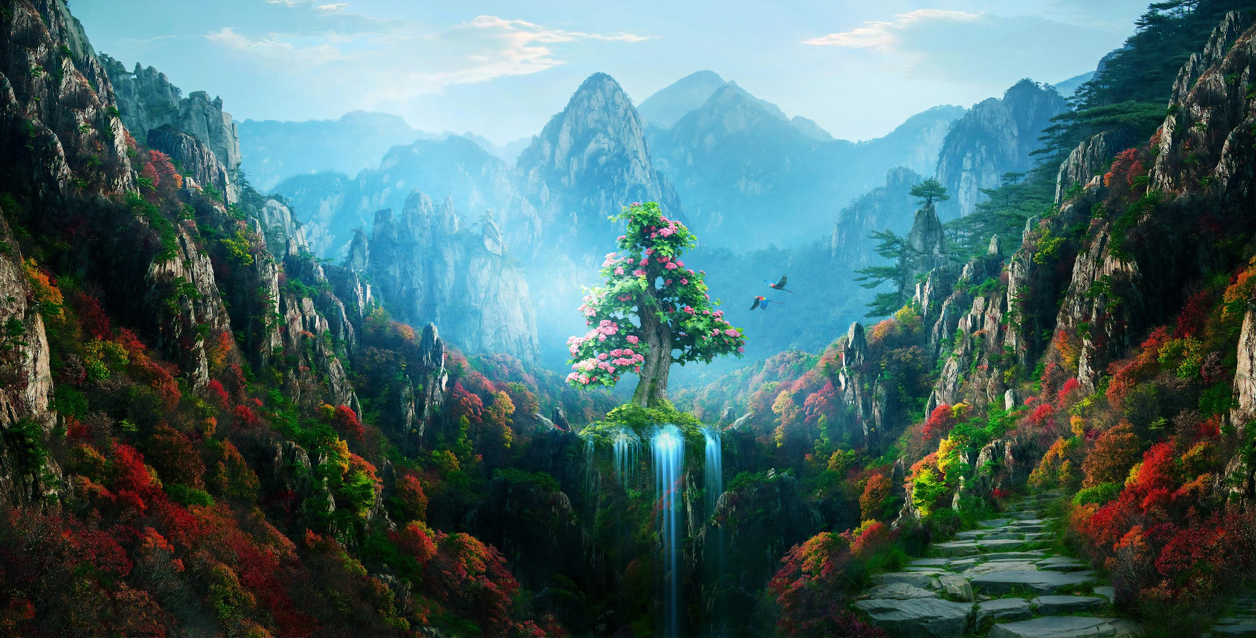 spring autumn colorful nature magical forest 4k wallpaper