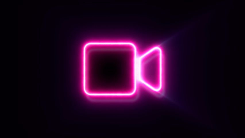 Pink Neon Video Camera Sign Stock Footage Video Royalty free