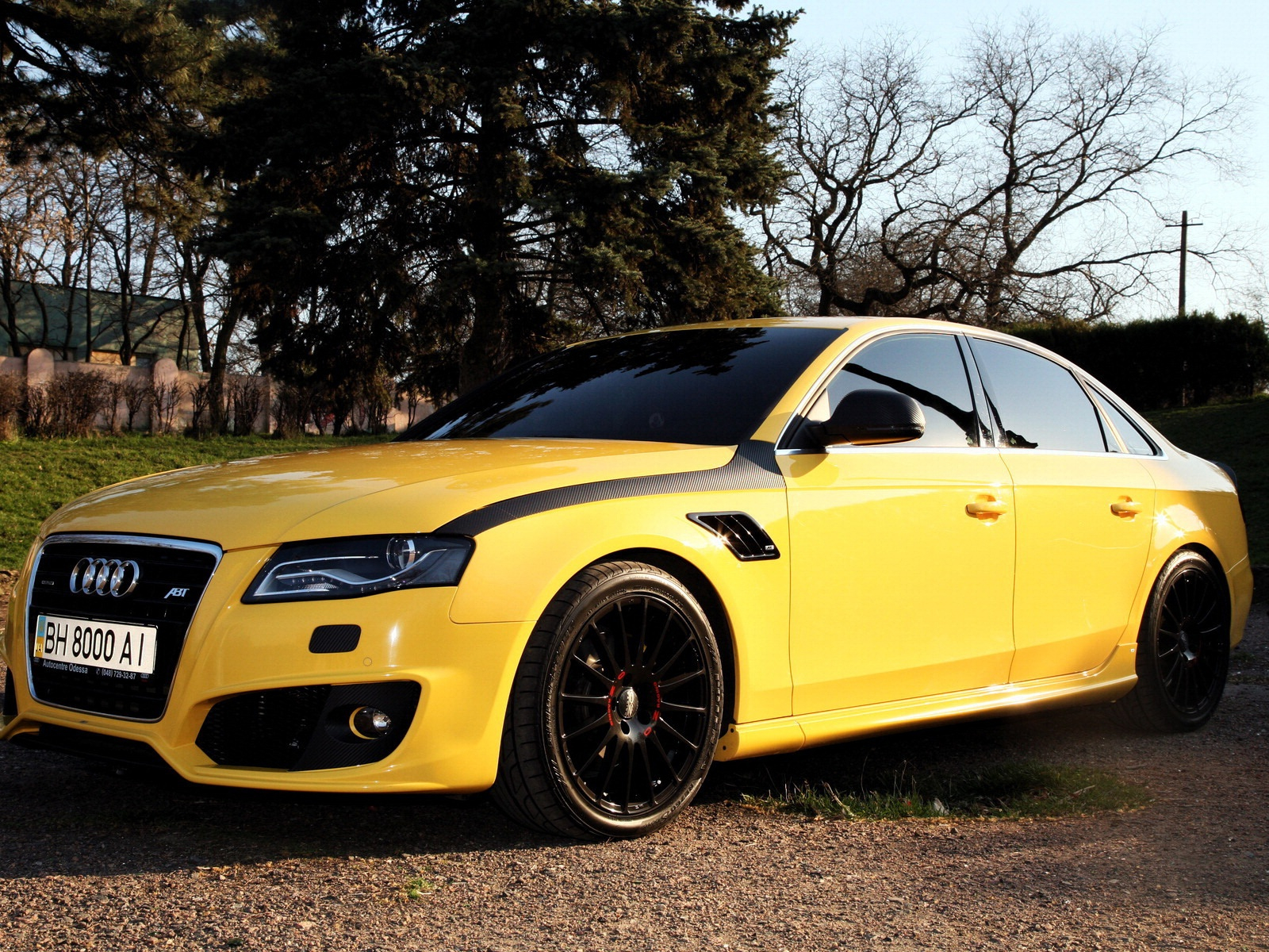 Audi A4 yellow color car wallpapers