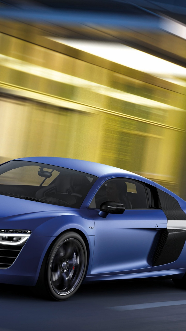 2013 audi r8 v10 plus sepang blue pearl effect side angle htc one x wallpapers 720x1280 1