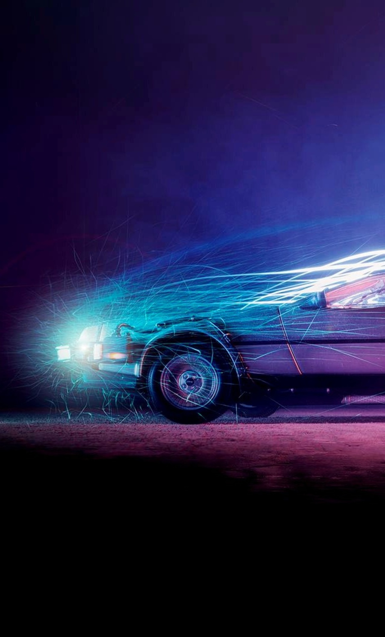 car lights flame back to the future