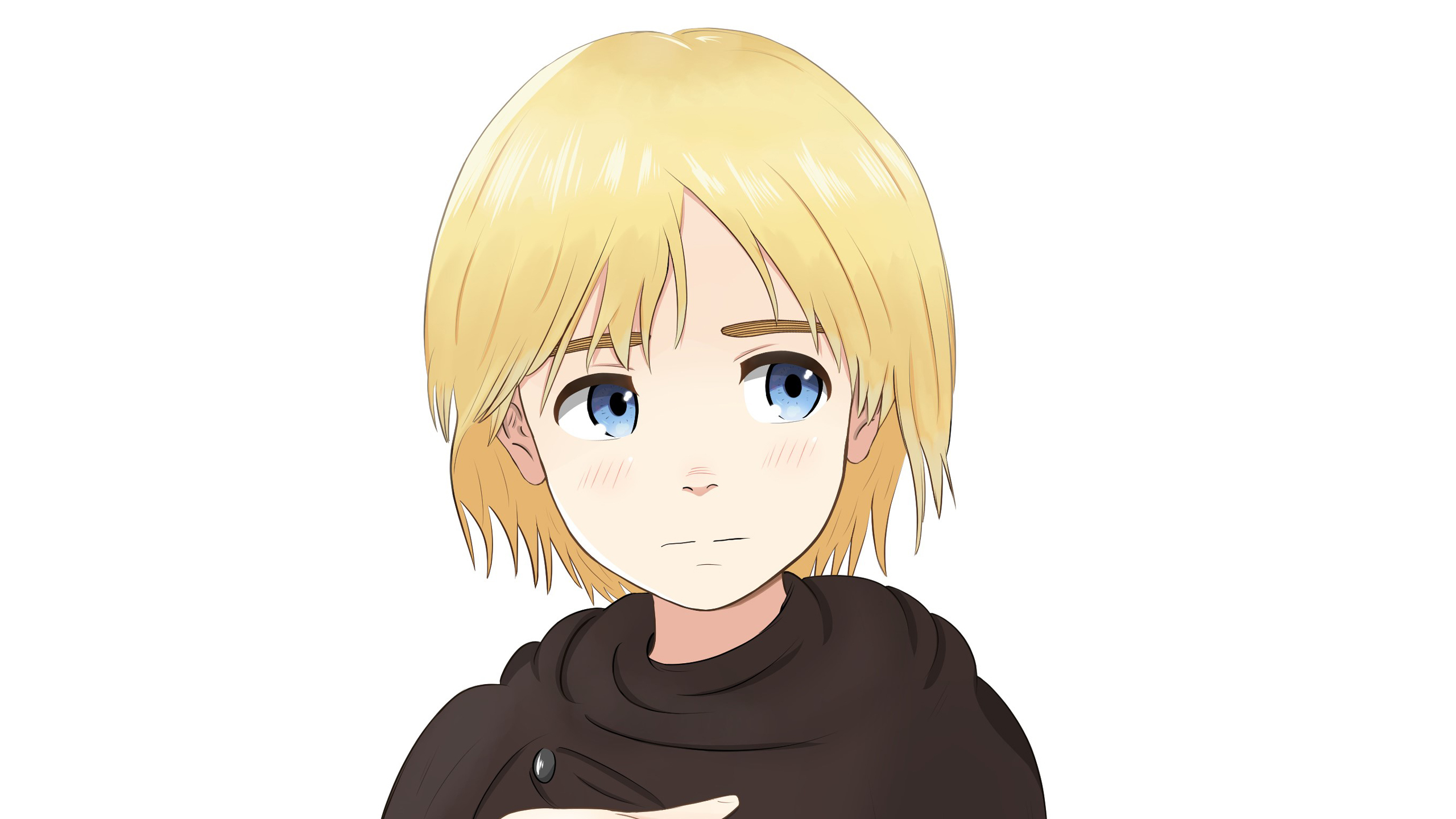 on titan armin arlert with yellow hair with white background hd anime wallpapers