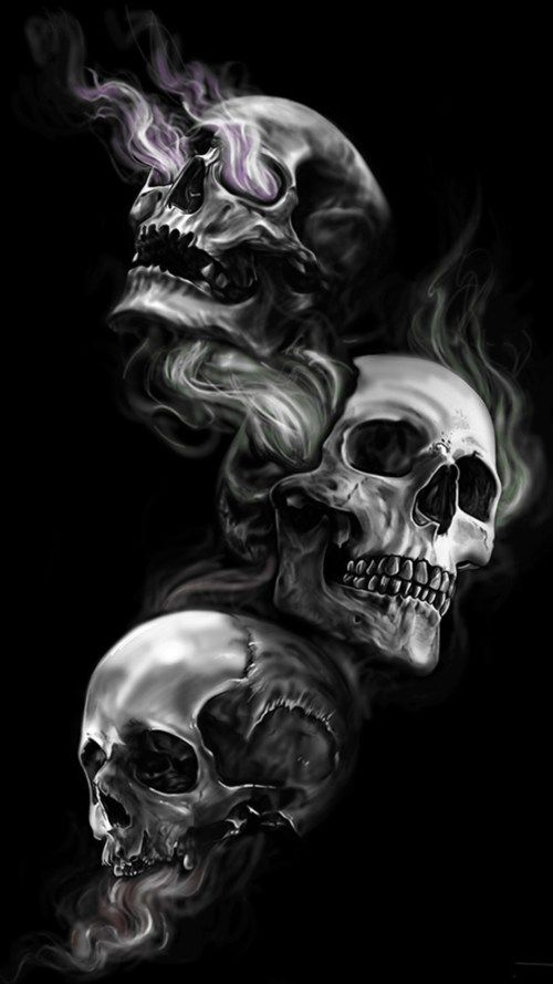 Badass Wallpapers For Android 04 0f 40 Three Skulls on Dark Black Background HD Wallpapers Wallpapers Download