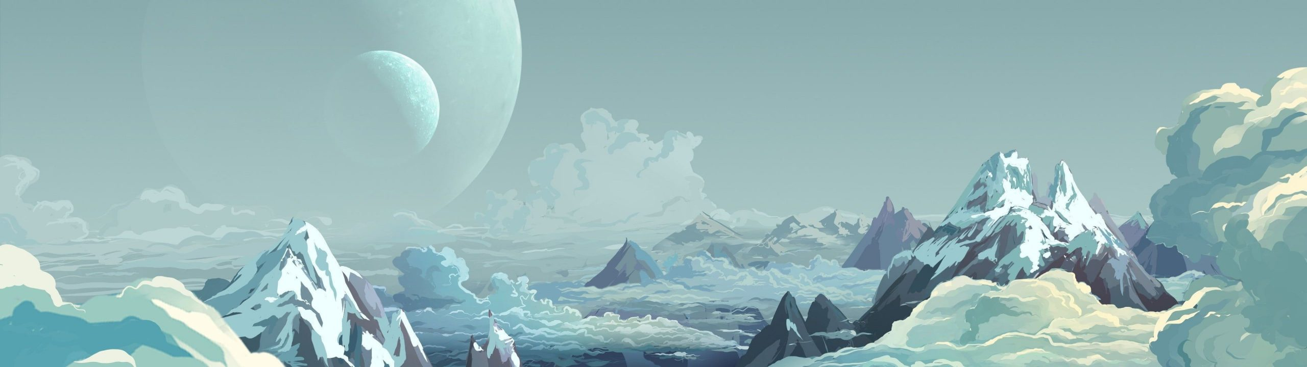 HD wallpaper alps digital wallpaper mountain with whit clouds during daytime artwork painting