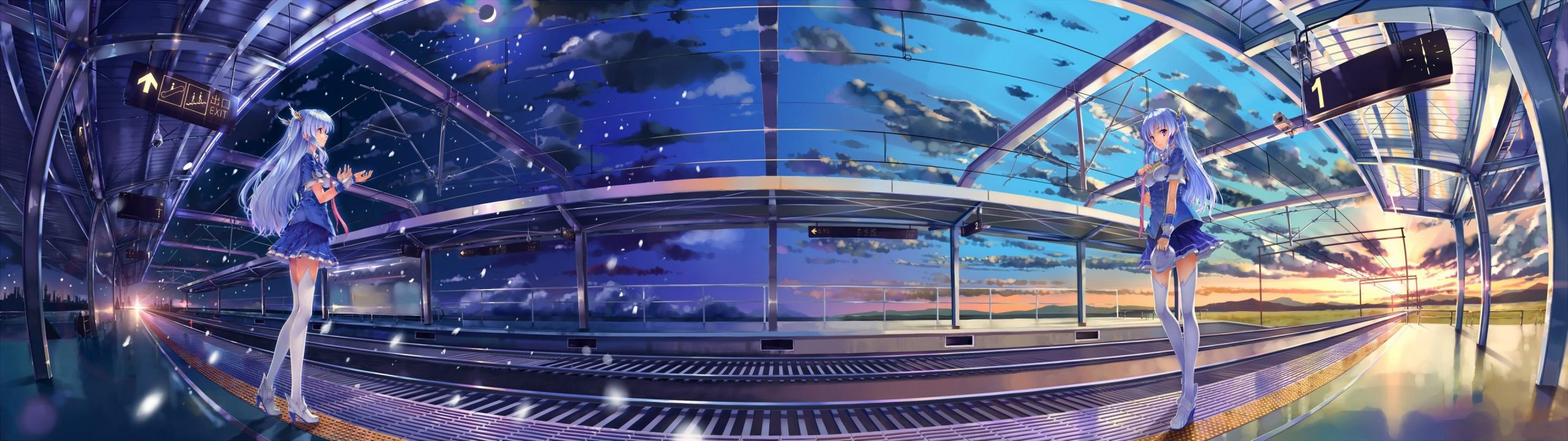 HD wallpaper blue haired female anime character sky clouds railway multiple display