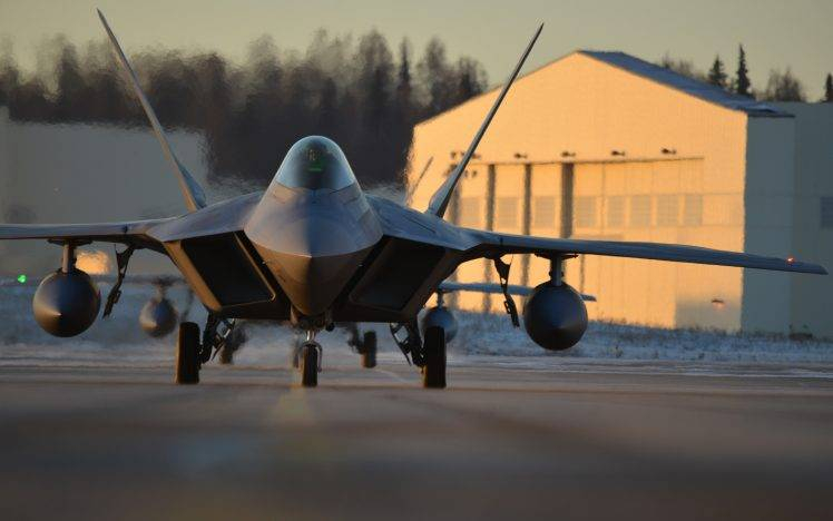 f 22 raptor military aircraft aircraft us air force military base sunset