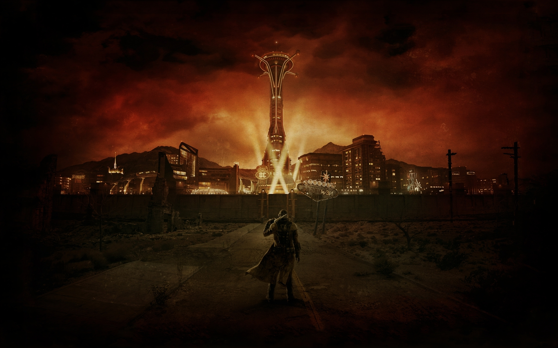 video games fallout new vegas digital art wasteland apocalyptic
