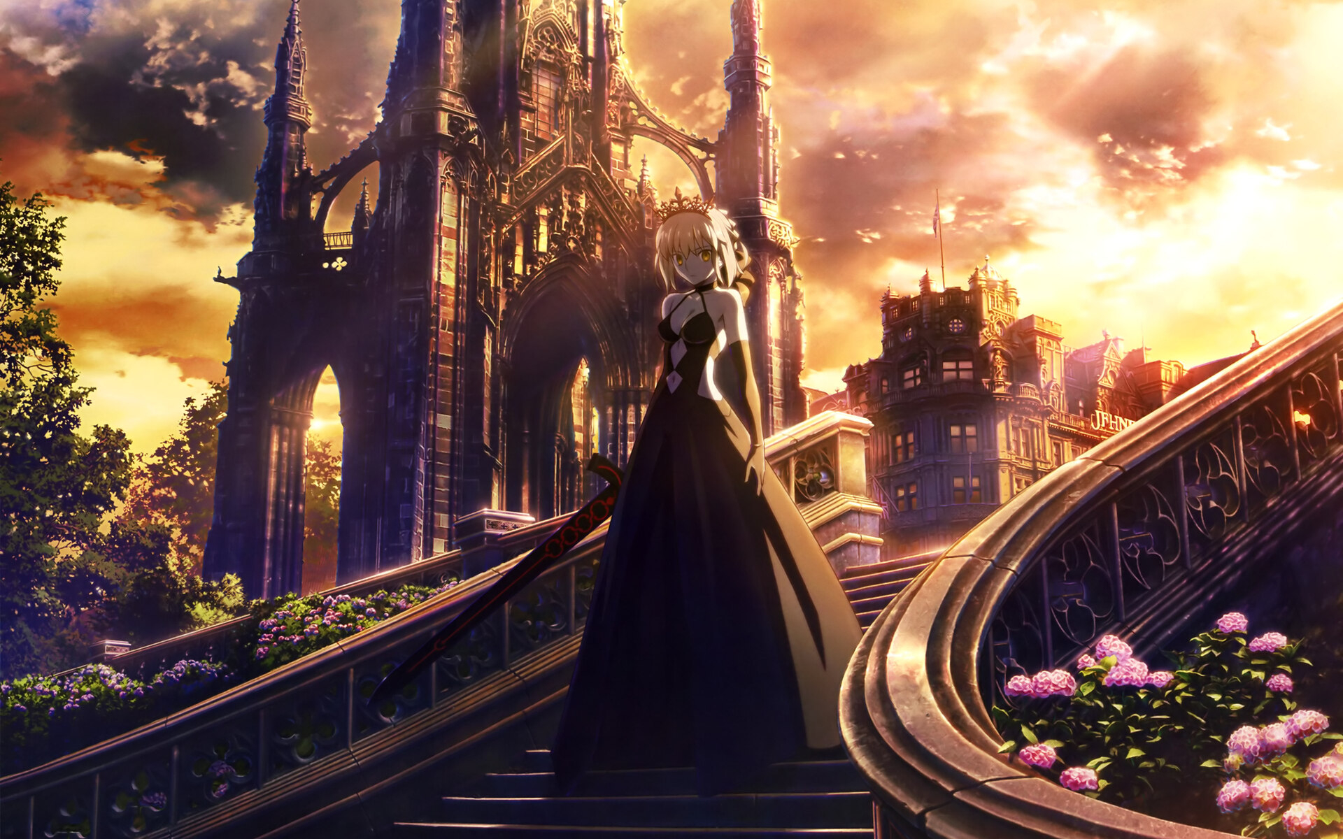 fate stay night anime girl walking through stairs