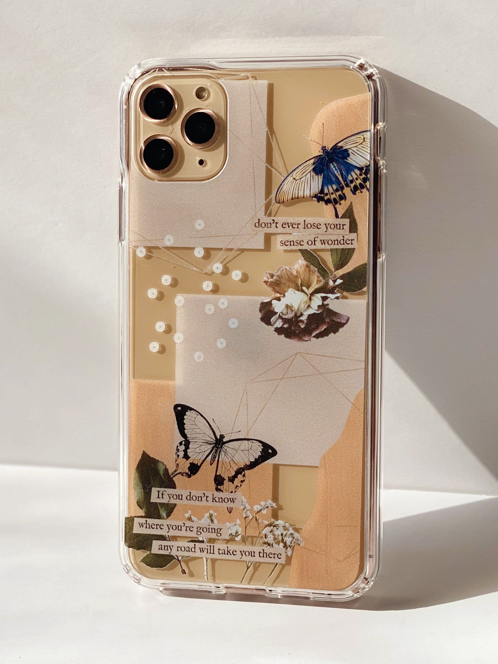 Aesthetic Abstract Butterfly Collage Clippings Clear Modern Phone Case For iPhone 12 Mini 11 Pro Max XR XS X 7 8 Plus SE 2020 Galaxy S10 S20