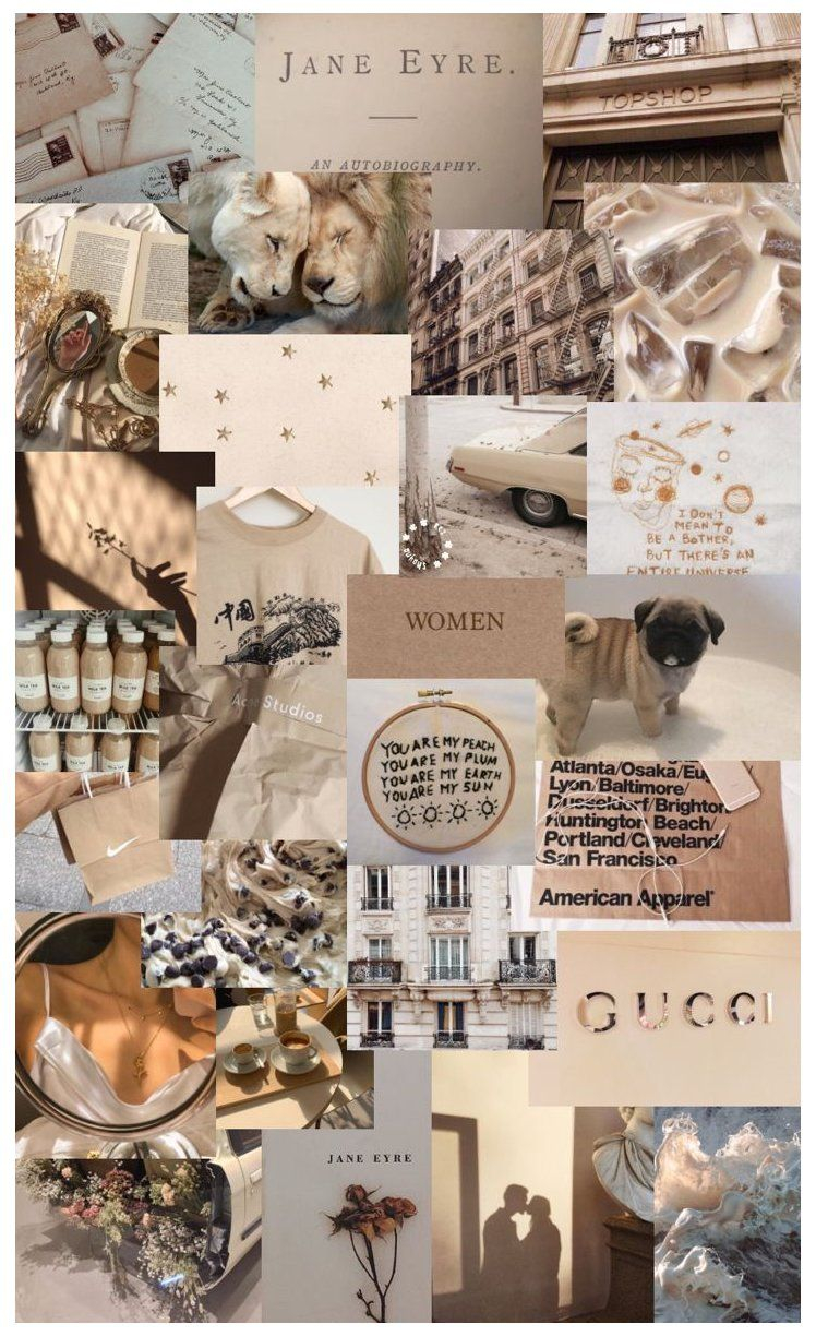 light brown aesthetic wallpaper collage