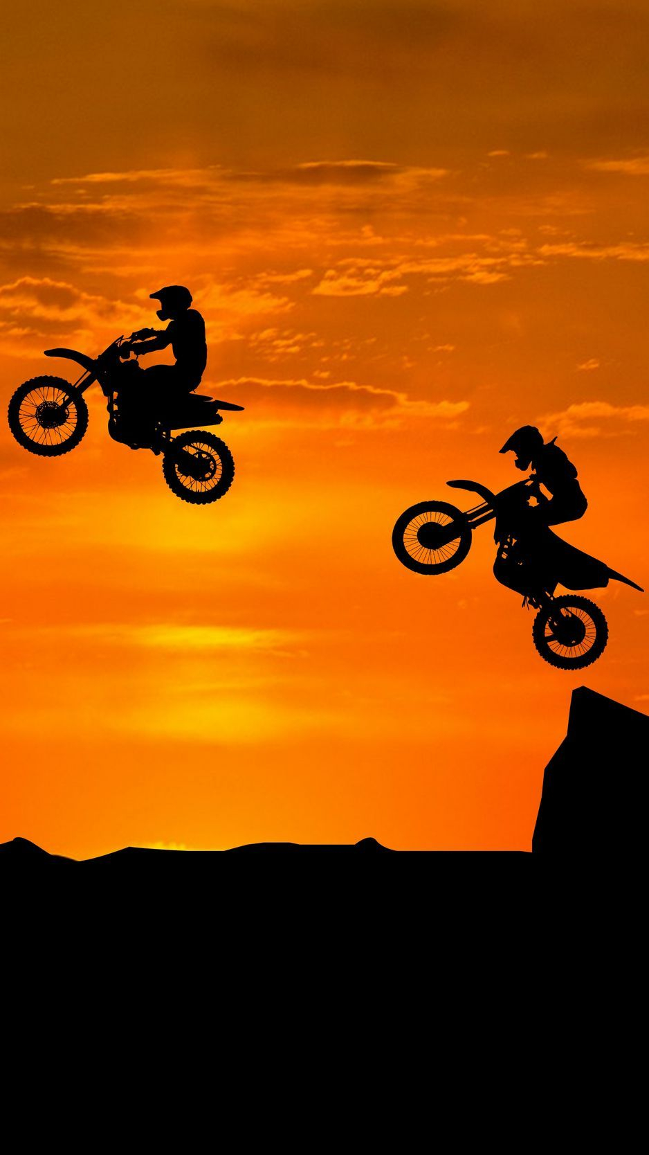 Download wallpaper 938x1668 motorcyclist silhouettes trick hill iphone 8 7 6s 6 for parallax hd background